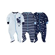 Gerber Onesies Baby Boy Sleep N Play Sleepers 3 Pack (6-9 Months, Reach For The Stars)