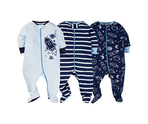 74b9207ee Amazon.com  Gerber Onesies Baby Boy Sleep N  Play Sleepers 3 Pack ...