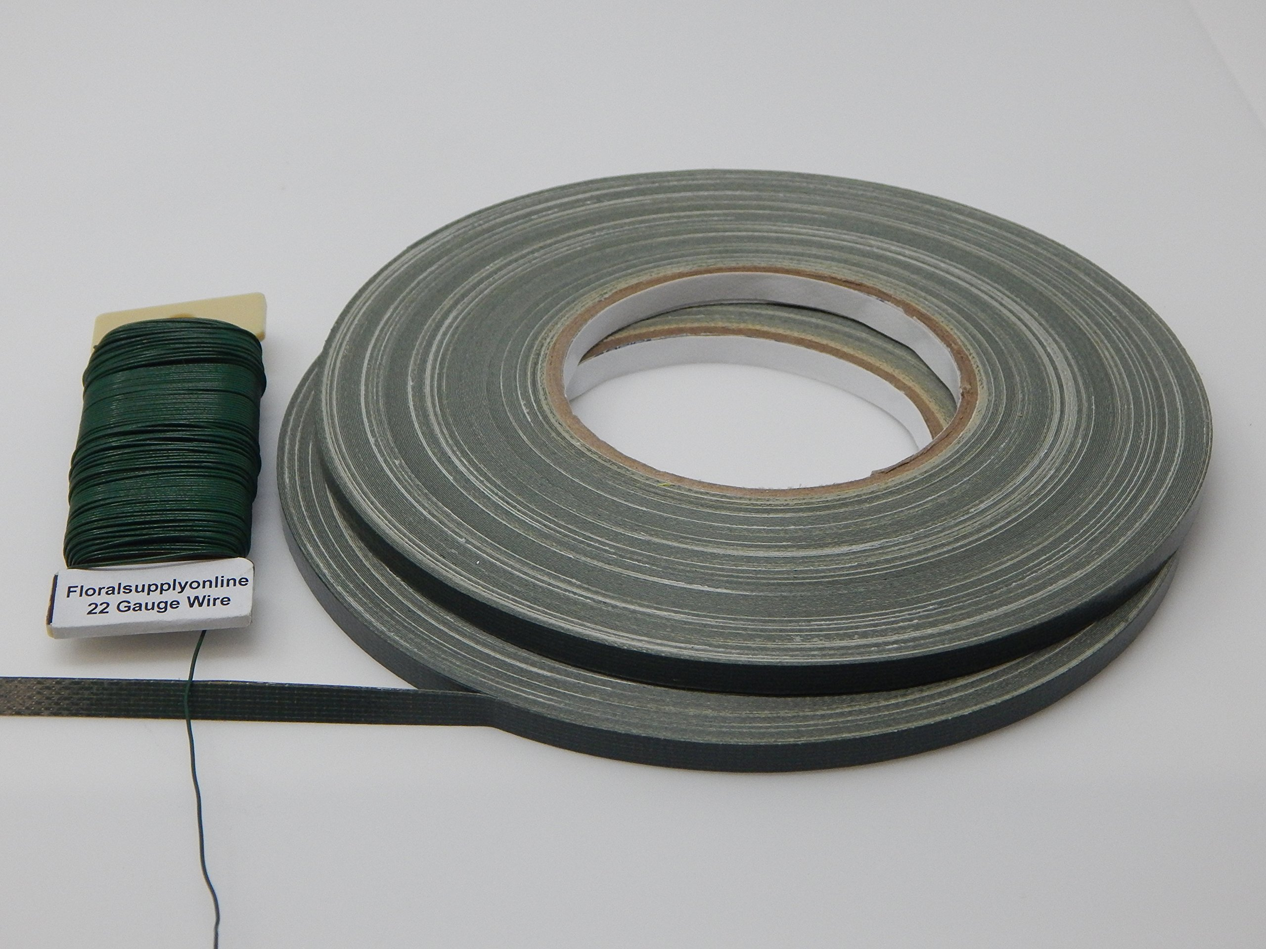 Green Floral Tape - 2 Rolls of 1/4'' Green Waterproof Tape. Bonus pack also includes 22 Gauge Floral Wire.