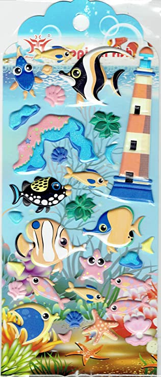 3d Tiere Fische Zierfische Leuchtturm Aquarium Aufkleber 1