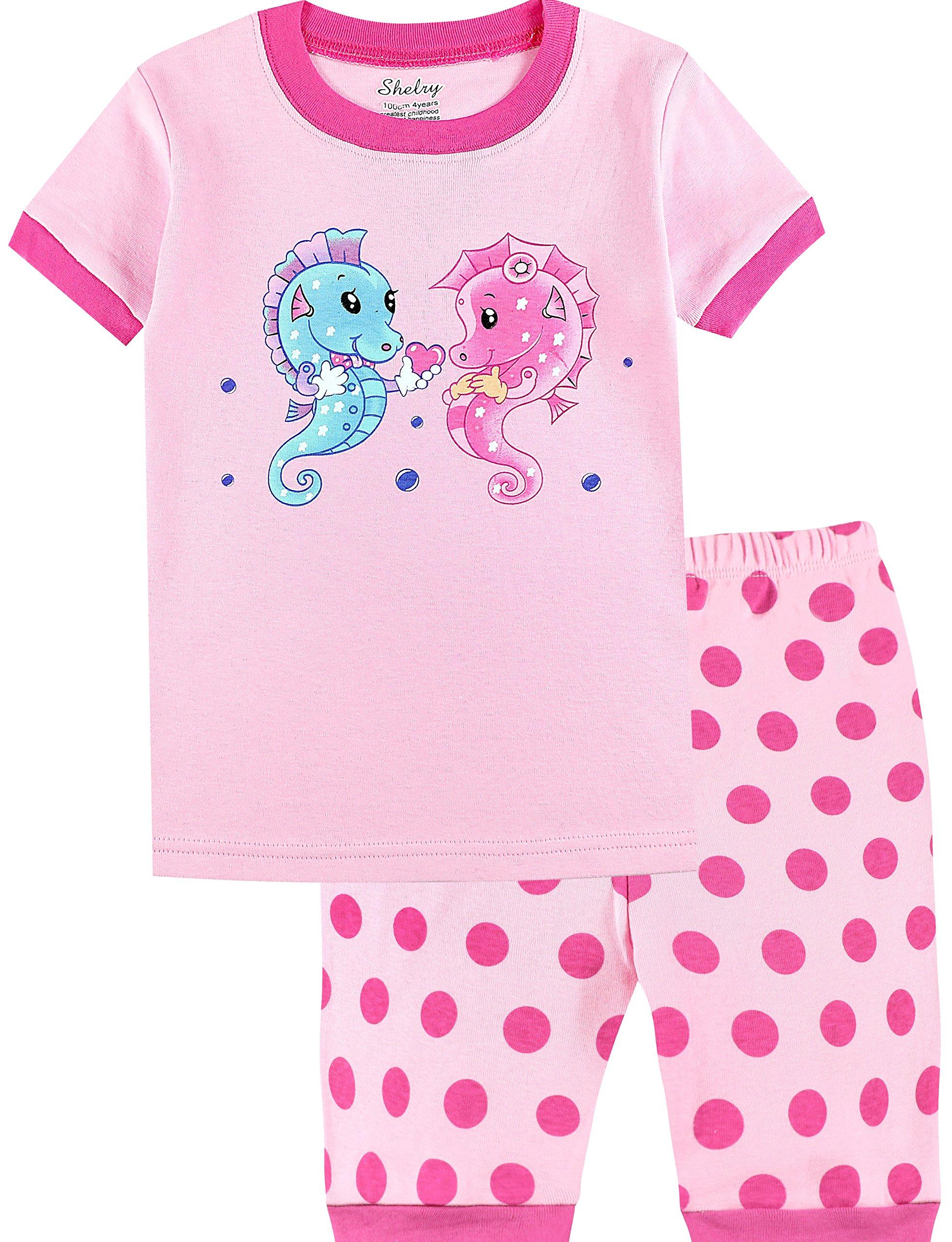 Girls Pajamas Set Summer Short Pants Seahorse Cotton Toddler Sleepwear Size 7
