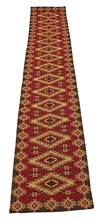 Kinara Red River Southwestern Design Jacquard Table Runner 13x72 inches