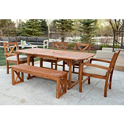672fcab6b0 Image Unavailable. Image not available for. Color: WE Furniture 6 Piece  X-Back Acacia Patio Dining Set ...