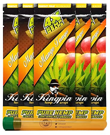 Kingpin Pure Hemp Flavored Wraps (Mango Tango, 5 Packs) with Rolling Paper  Depot XL Kewltube
