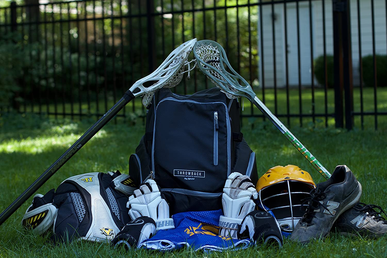 Amazon.com : Throwback Gametime Pack XL - Large Lacrosse Backpack & Field Hockey Bag with Cooler - Perfect for Multi-Sport Athletes - Includes Racquet ...