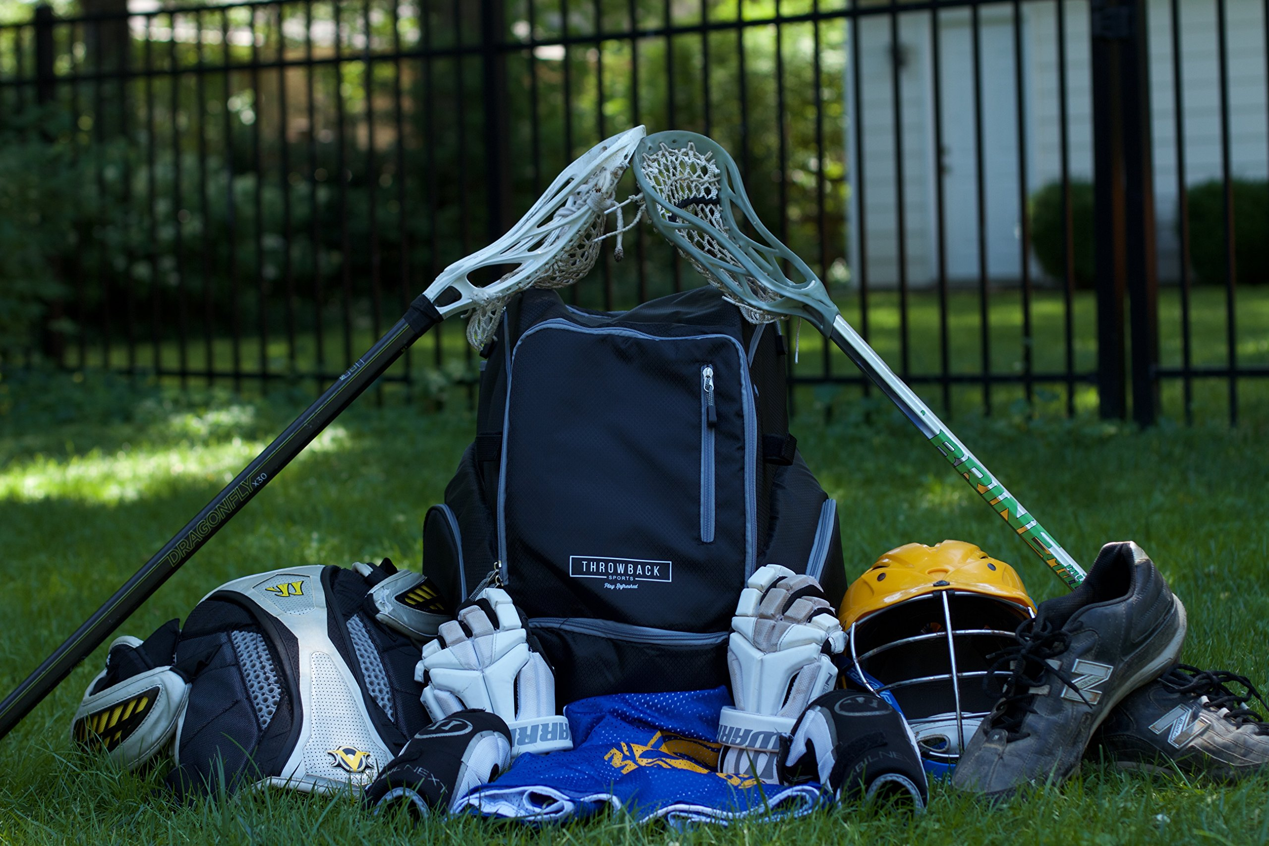 Throwback Gametime Pack XL - Large Lacrosse Backpack & Field Hockey Bag With Cooler - Perfect For Multi-Sport Athletes - Includes Racquet Holder For Tennis, Racquetball + Separate Shoe Compartment by Throwback Sports (Image #2)