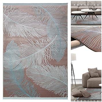 Exotischer Luxus Teppich 3302 NE Mit Federn In 3D Optik Und Glanz In Braun  Blau |