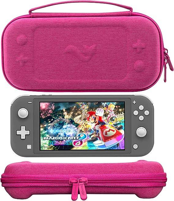 ButterFox - Funda de transporte compacta para Nintendo Switch Lite con 19 juegos y 2 tarjeteros micro SD, color rosa ...