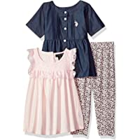 U.S. Polo Assn. Girls' Fashion Top and Legging 3 Piece Set, Prism Pink-6960