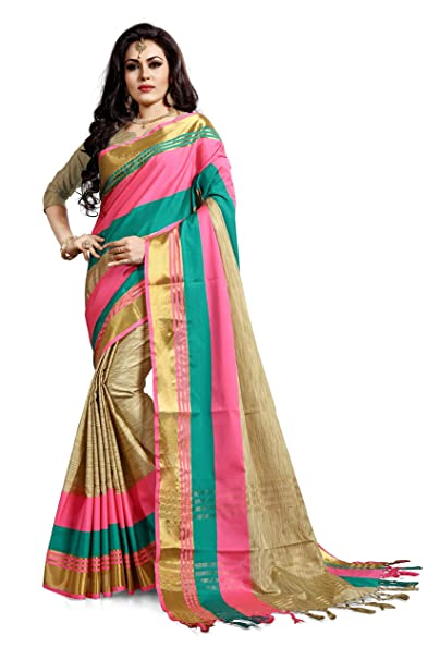 98ca6805497764 Ruchika Fashion Women s Cotton Silk Saree with Blouse Piece  Material(Priyanshi Multicolour Free Size)  Amazon.in  Clothing   Accessories
