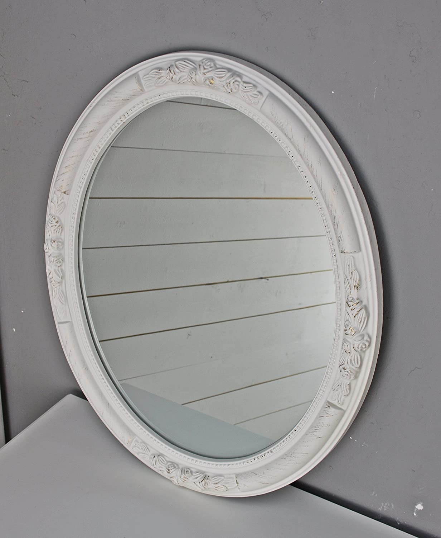 Specchio con cornice bianca - Specchio antico ovale ...