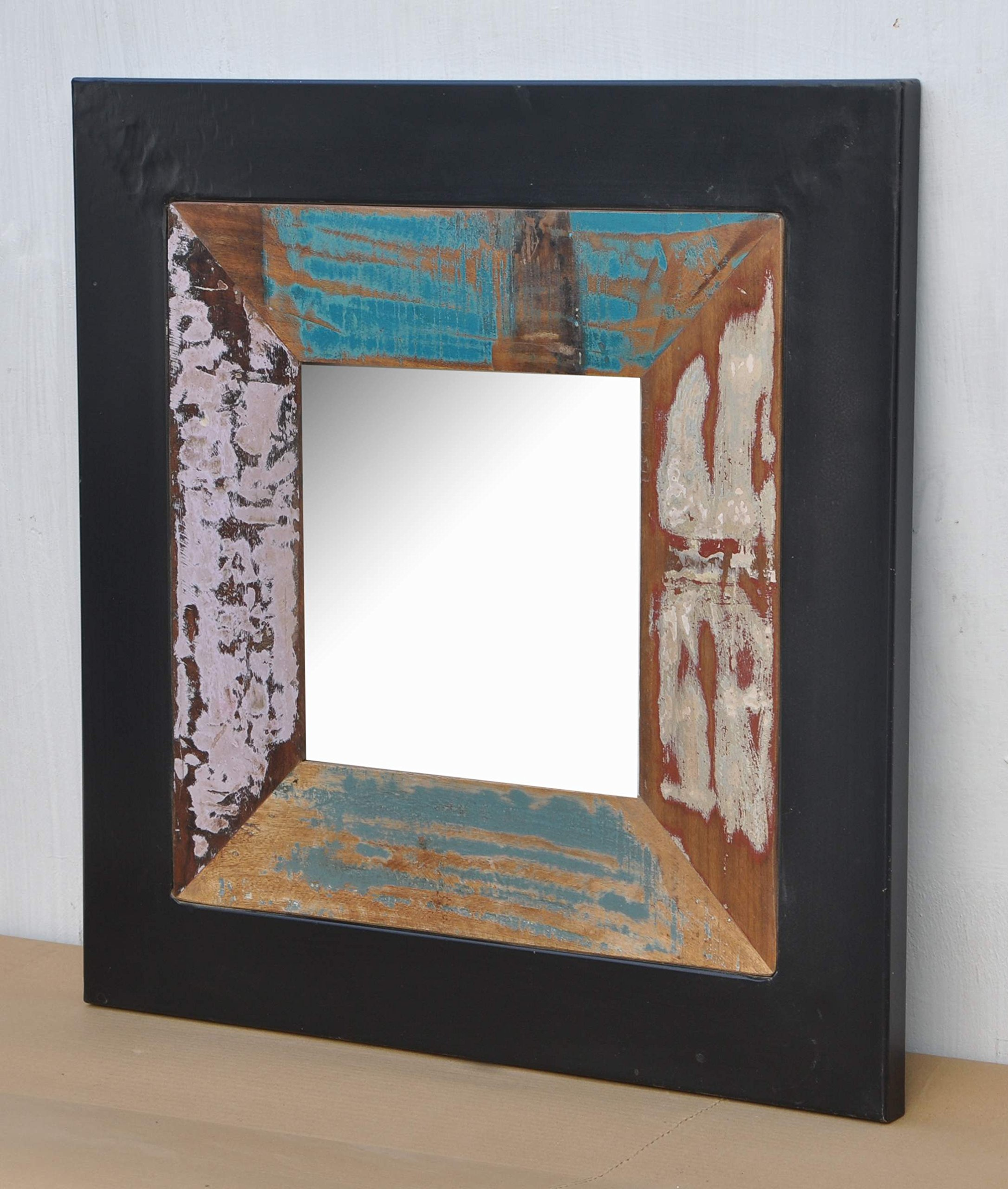 Handmade Solid Reclaimed Rustic Burn Wood Metal Frame Décor Photo Frame
