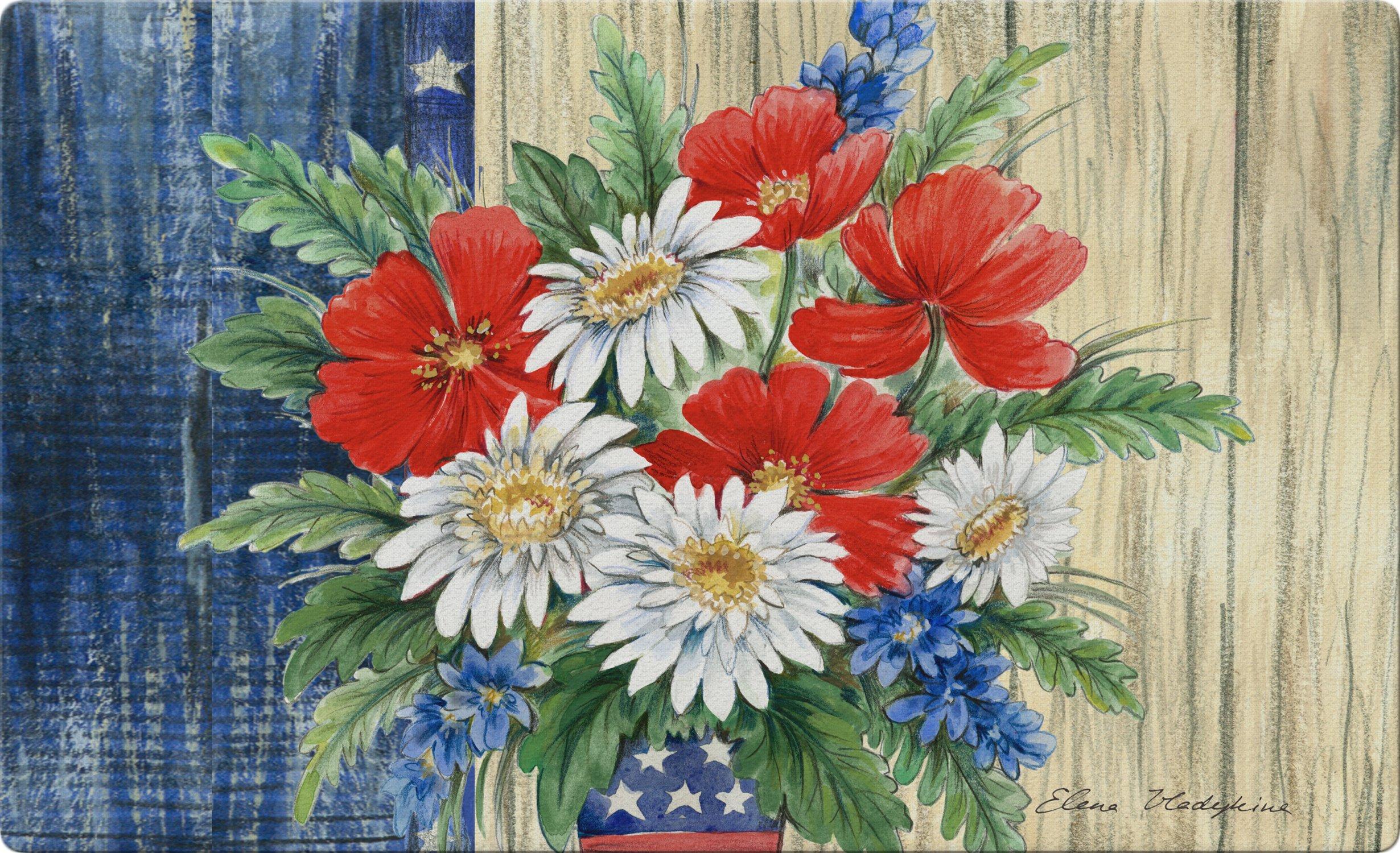 Toland Home Garden Patriotic Bouquet 18 x 30 Inch Decorative Flower Floor Mat USA Floral Doormat