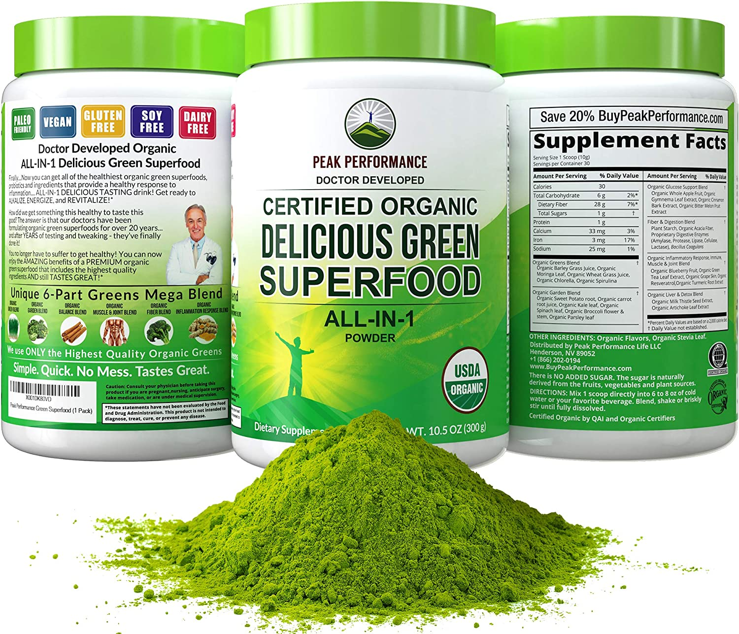 Amazon.com: Peak Performance Organic Greens Superfood Powder. Best Tasting  Organic Green Juice Vegan Super Food with 25+ All Natural Ingredients for  Max Energy and Detox. Spirulina, Spinach, Kale, Probiotics: Health &  Personal
