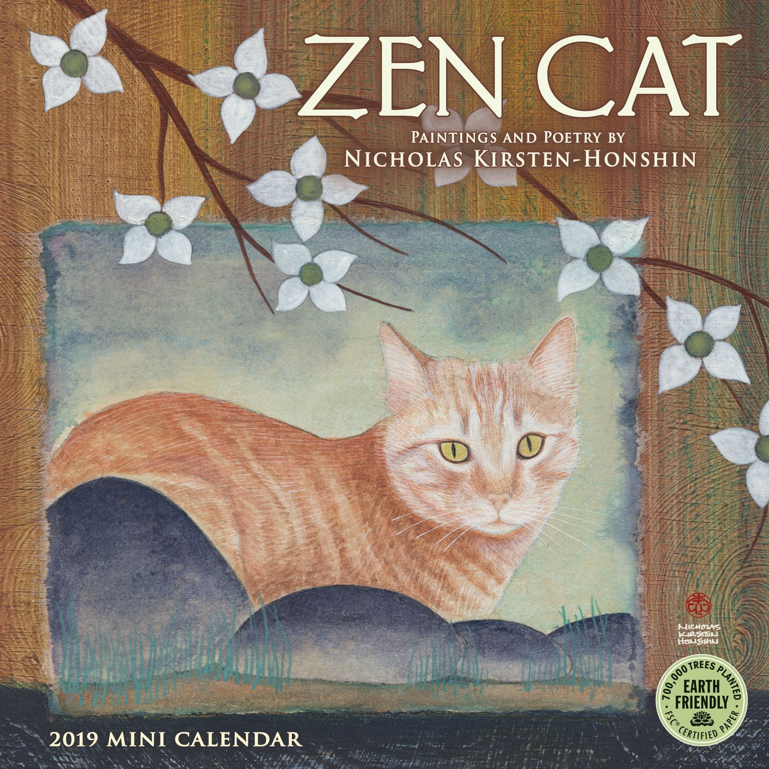 zen cat 2018 mini wall calendar paintings and poetry by nicholas kirsten honshin