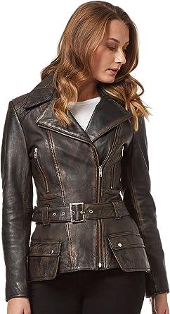 Feminine Ladies Trench Coat Black Washed Motorbike Style Designer Real Leather