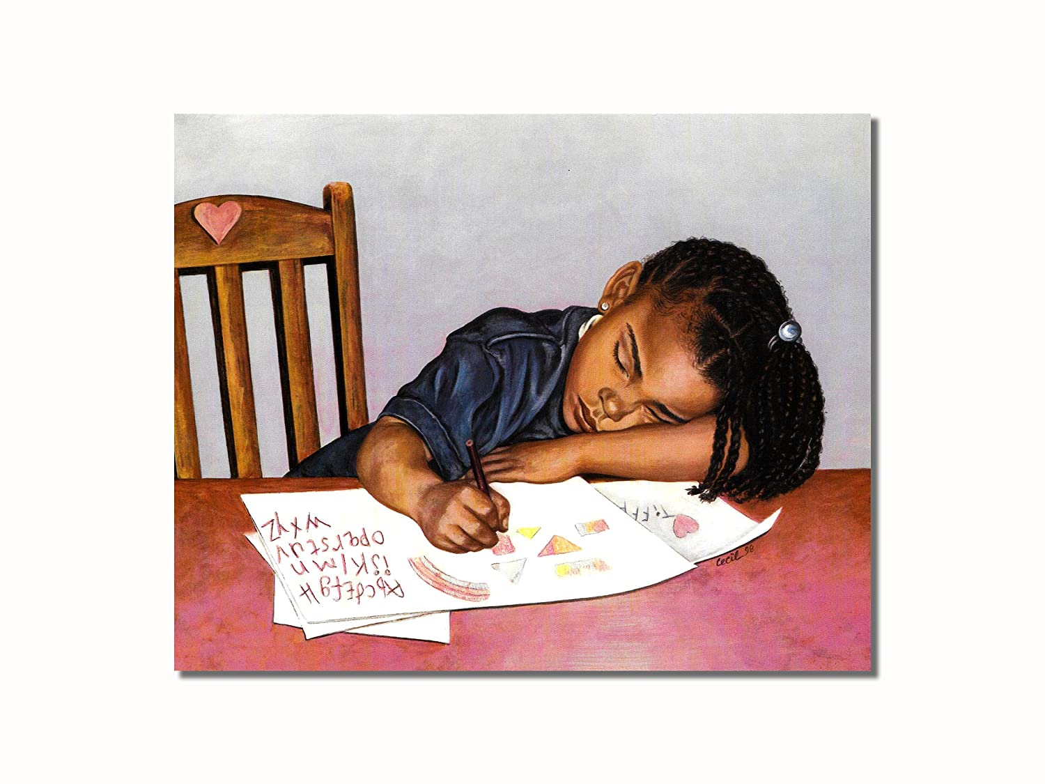 african-american-black-girl-at-table-doing-homework-wall-picture-8x10-art-print by art-prints-inc