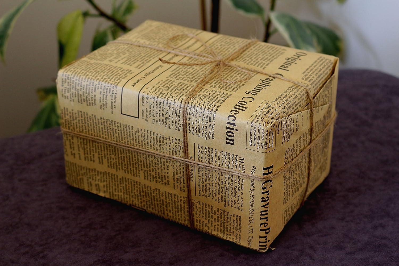 Papier cadeau vintage style papier journal, taille double avec ficelle en jute: Amazon.fr: Fournitures de bureau