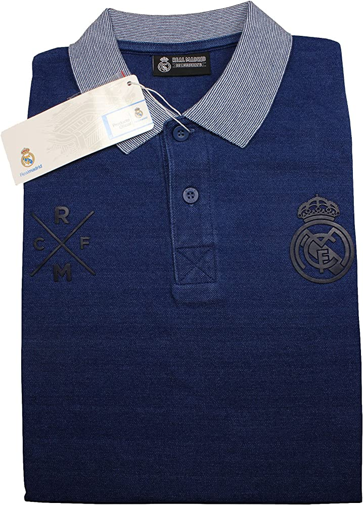 Real Madrid FC Polo Oficial Azul Marino/Gris (L): Amazon.es: Ropa ...