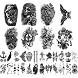 Yazhiji 32 Sheets Temporary Tattoos Stickers, 8 Sheets Fake Body Arm Chest Shoulder Tattoos for Men Women with 24 Sheets…