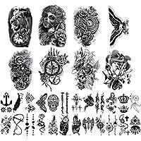 Yazhiji 32 vellen Tijdelijke Tatoeages Stickers, 8 Vellen nep Lichaam Arm Borst Schouder Tatoeages voor Mannen vrouwen…