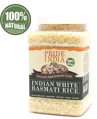 Pride Of India - Premium Indian White Basmati Rice - 3.3 lbs (53 oz) Jar - Granos únicos, extra largos, no pegajosos y delgados con sabor a nuez: se ...