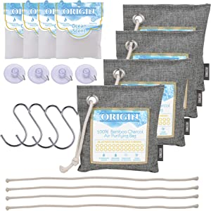 Bamboo Charcoal Air Purifying Bags (4 x 200g), Charcoal Odor Filter, Absorber, Freshener, Deodorizer, Natural Activated Bamboo Charcoal, Air Purifier Bags, Bamboo Charcoal Odor Eliminator, Charcoal Air Purifiers, Air Purifier for large room