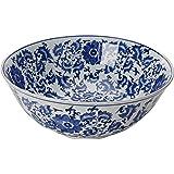 "Oriental Furniture 14"" Floral Blue & White Porcelain Bowl"