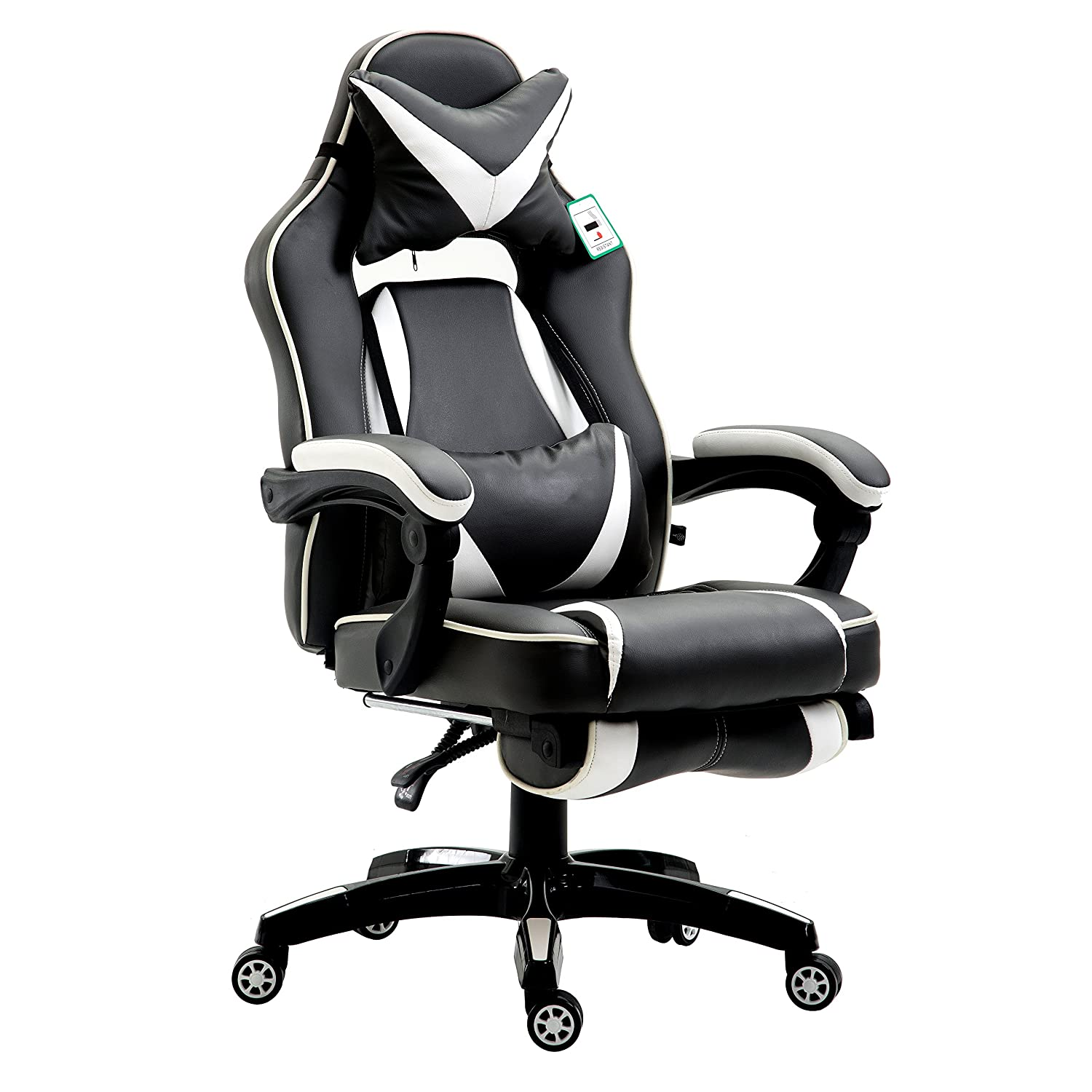 Cherry Tree Furniture CTF High Back Recliner Racing Style Gaming Swivel Chair with Footrest & Adjustable Lumbar & Head Cushion (Black & White)