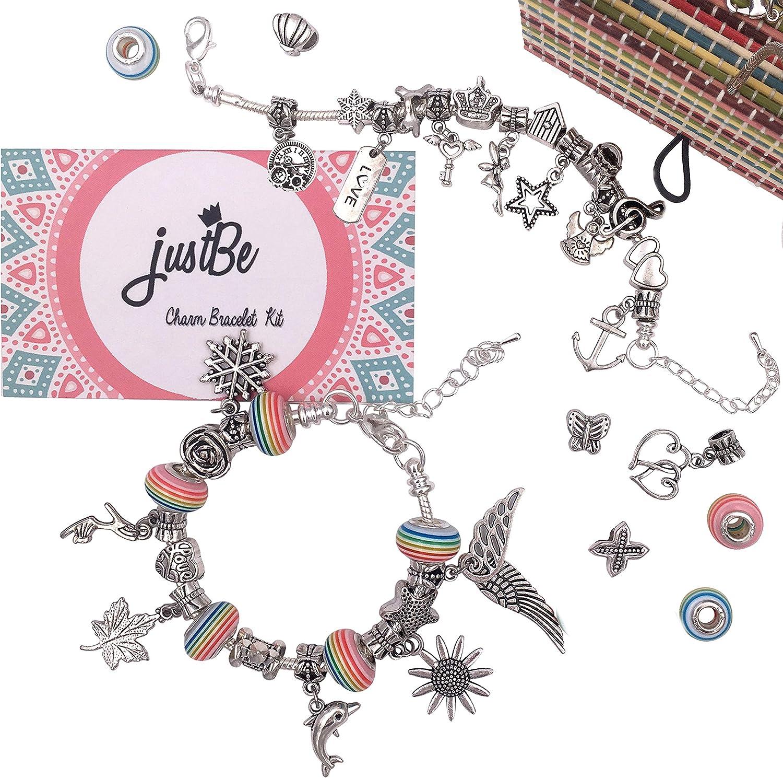 Amazon Com Justbe Charm Bracelet Making Kit Diy Craft Jewelry Gift Set For Kids Girls Teens