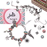 Charm Bracelet Making Kit DIY Craft European Bead Silver Plated Snake Chain Jewellery Gift Set For Girls Teens