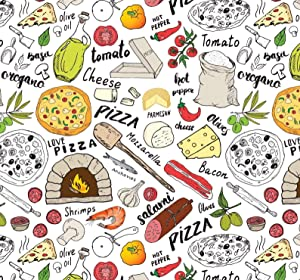 Pizza Gift Wrap Food Present Wrapping Paper, Folded Flat 30 x 20 Inch, 3 Sheets
