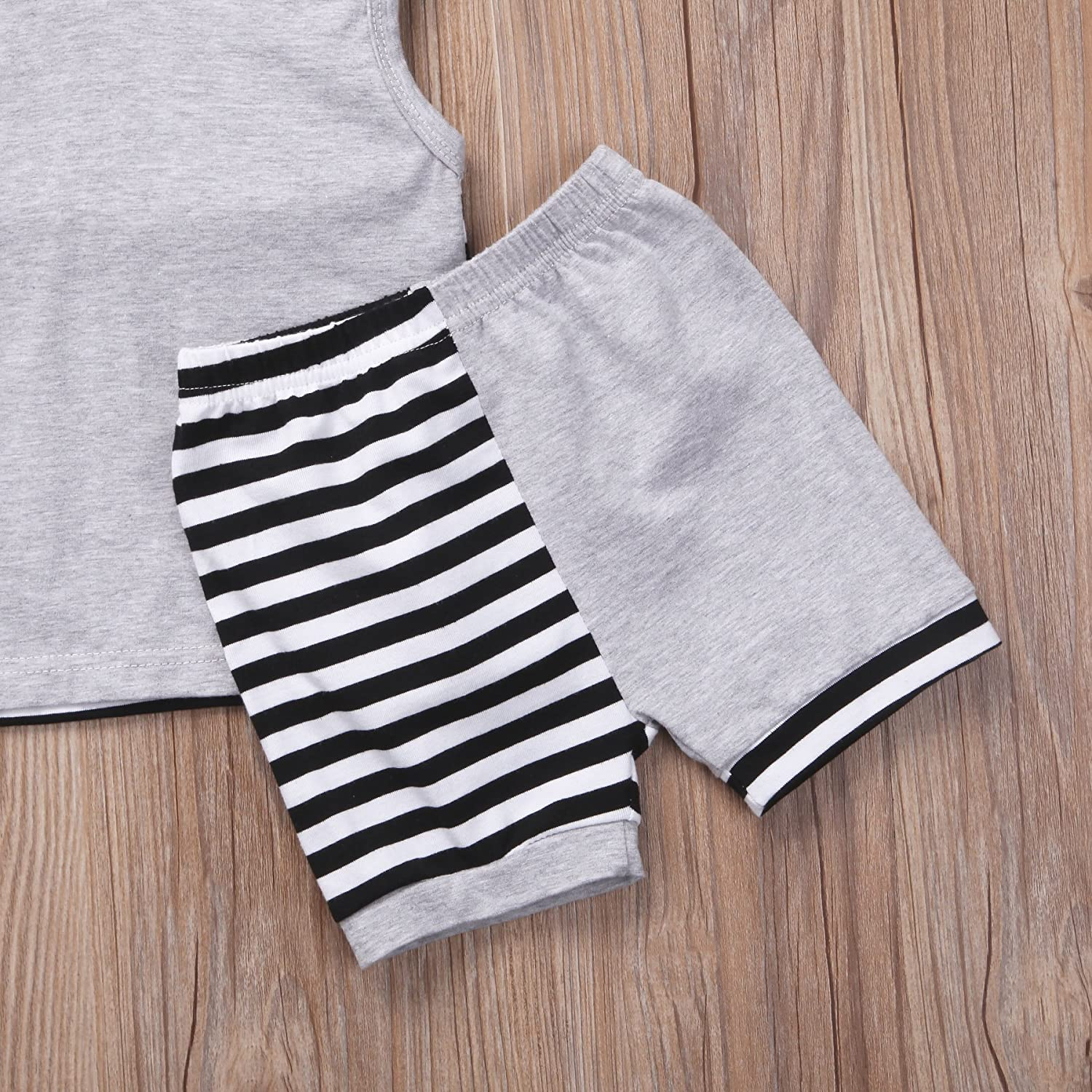 Enhill 2Pcs//Set Infant Baby Boy Sleeveless Hoodie Tops Striped Shorts Summer Outfit Clothes