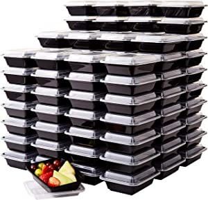 Pro Grade, BPA Free Plastic Containers with Lids, 100ct. 12oz, Leakproof, Microwavable Portion Container for To-Go Orders, Food Prep and Storage. Reusable Bento Boxes for Restaurant, Cafe and Catering