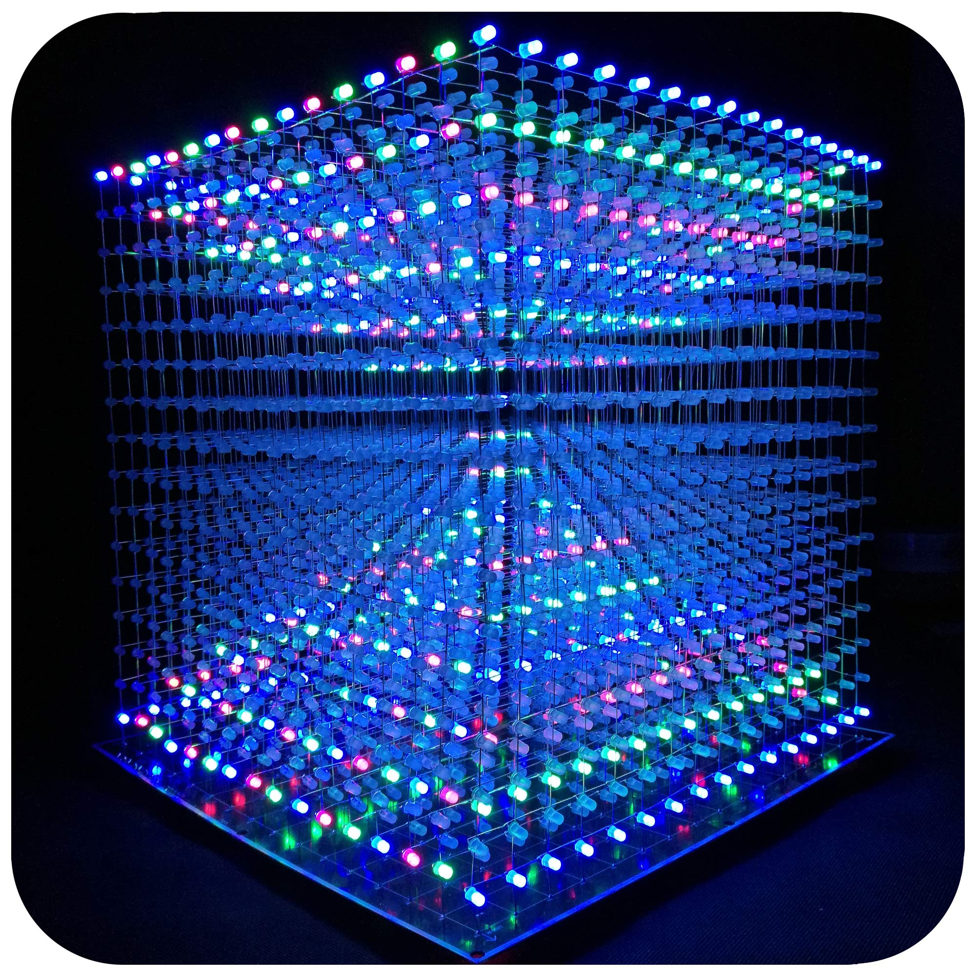 iCubeEdv 3D Led Cube Light Electronics Kit with Squared LED 16x16x16 Electronic Learning Toy for Children and Teenagers Learning Activities Suit (Multi-Colored)