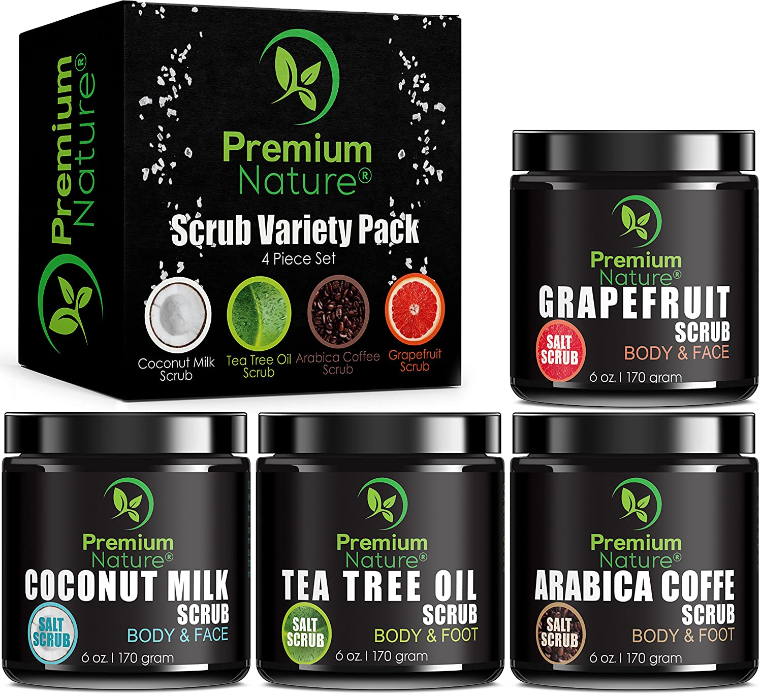 Body Scrubs Gift Variety Pack - Set of 4 Scrubs 6 oz each Grapefruit Coffee Tea Tree Oil & Coconut Milk Exfoliating Face Scrub Exfoliator with Essential Oils for Women Men Best Beauty Relaxation Gift Premium Nature