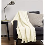 "Amazon Basics Faux Angora Fringed Blanket - White, 50"" x 70"""
