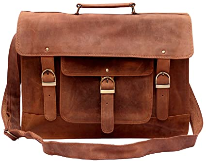 26bbbff1e7d8 Feather Feel Large Leather Satchel Briefcase, 18