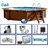 Interline 50700210 - Piscina fuori terra e interrata, in legno, rotonda, dimensioni: 4,40 x 1,36 m, pompa 6 m³, set filtro a sabbia 4 m³