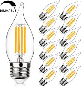 Dimmable Candelabra LED Bulbs 40W Equivalent, 2700K Warm White, E26 Standard Medium Screw Base, 4W Filament LED Chandelier Light Bulbs, CA11 Flame Tip Vintage Edison Clear Candle lamp, Pack of 12