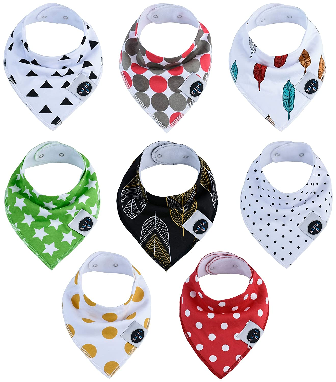 Baby Bandana Dribble Bibs 8-Pack Set 100/% Organic Cotton for Boys and Girls