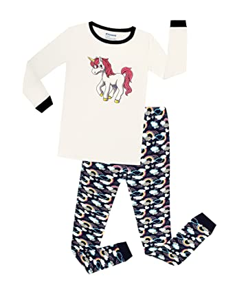 Elowel Girls Unicorn 2 Piece Toddler Kids Pajamas pjs 100% Cotton Size 12-18