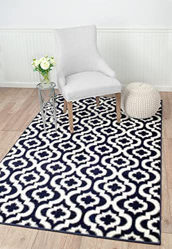 SummitS43 New Navy Blue Morrocan Trellis Area Rug Modern Abstract Rug , 5 X7 ACTUAL SIZE IS 4 .10X7 .2
