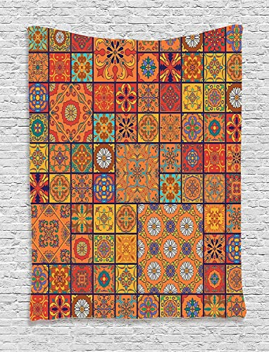 Ambesonne Moroccan Tapestry, Group of Moroccan Geometric Patterns Floral Ornamental Patchwork Print, Wall Hanging for Bedroom Living Room Dorm Decor, 60 X 80 , Marigold Orange
