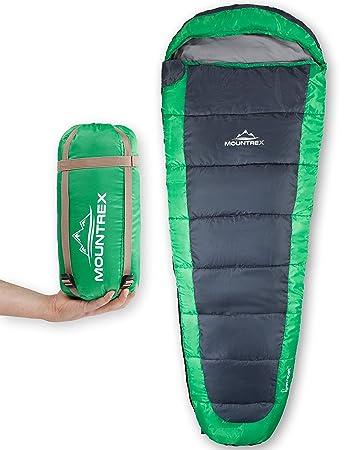 pretty nice 84517 62cdc MOUNTREX® Schlafsack – Ultraleicht & Kompakt (850g) | Outdoor  Mumienschlafsack (205x75cm) | Kleines Packmaß | GRATIS Reisekissen