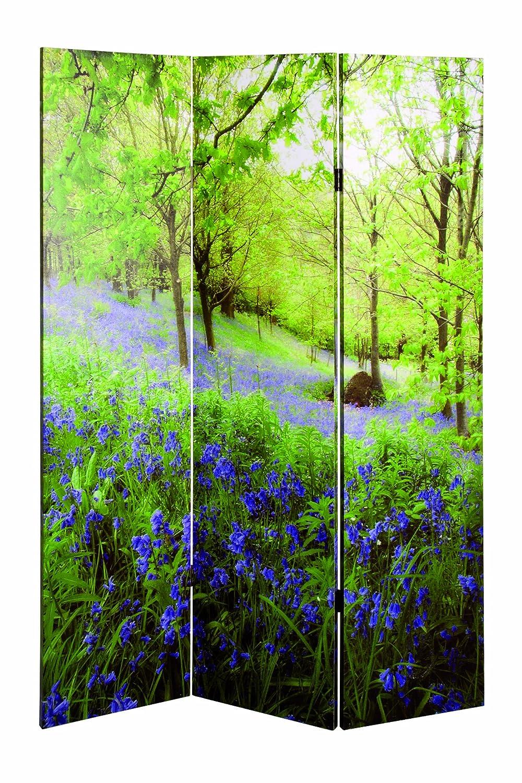 Haku Möbel 30940 Paravent Bois Massif Sapin-Toile Vert-Multicolore 3 x 120 x 180 cm