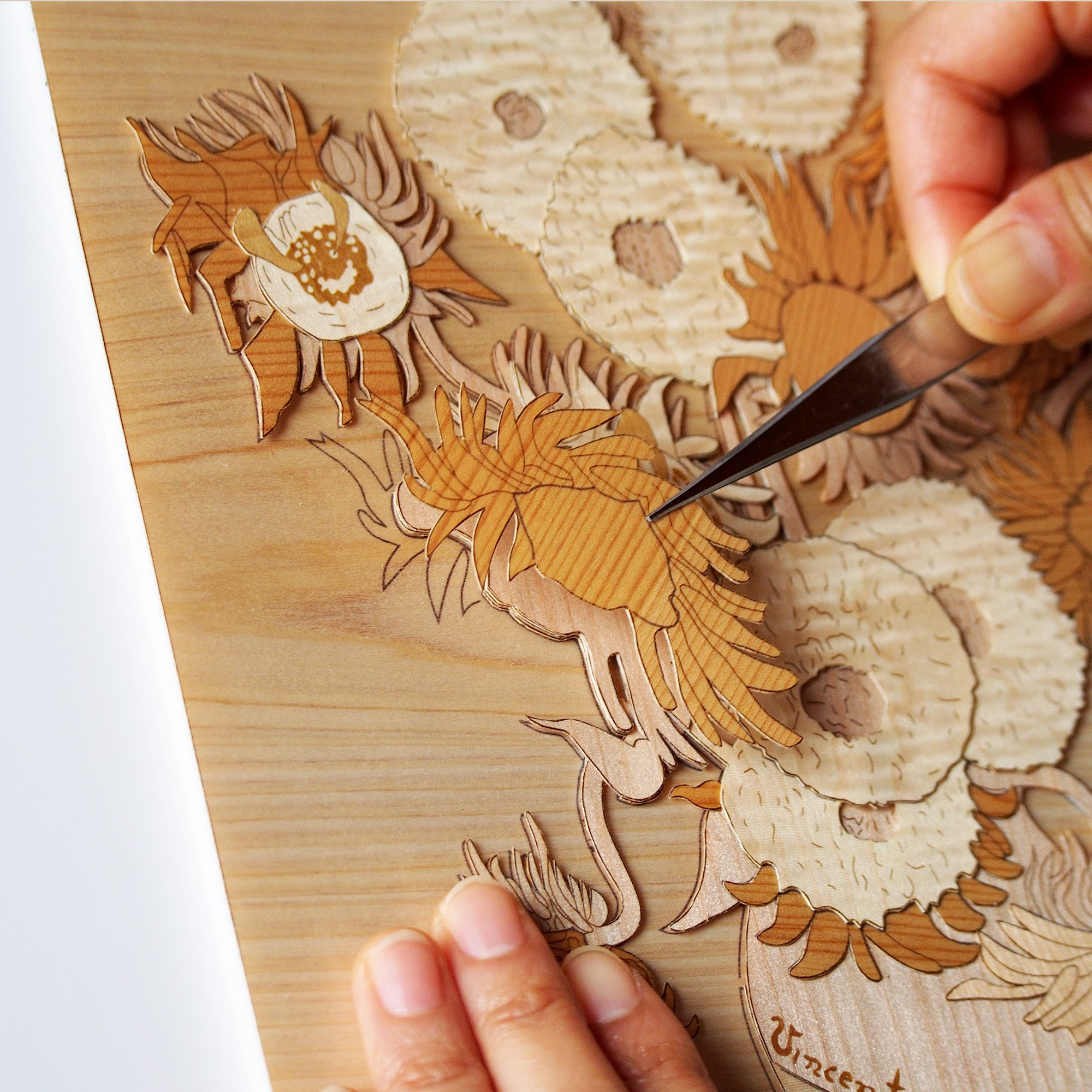 KINOWA Wooden Art Kit Kiharie Sunflowers Made in Japan by KINOWA (Image #5)