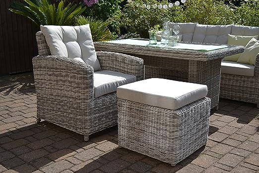 Bomey ratán silla y Ottoman I Muebles de Jardín Set Manhattan de 2 piezas I Jardín