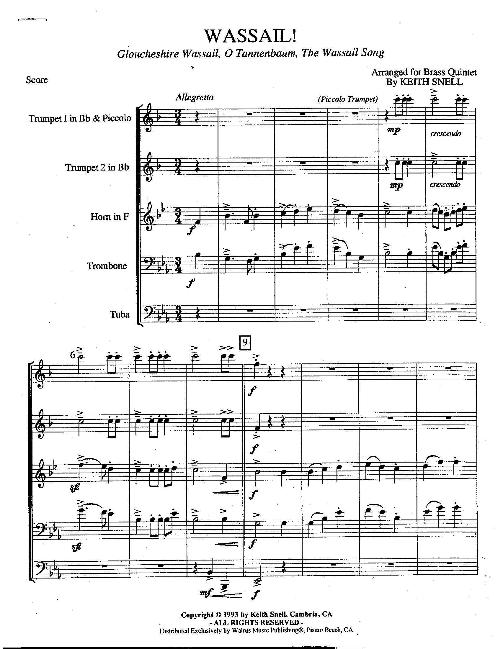 Englische Weihnachtslieder.Wassail Traditional English Carols For Brass Quintet