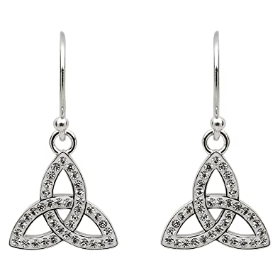 df1192bff Hallmarked Sterling Silver Trinity Knot Earrings With Swarovski Crystals:  Amazon.co.uk: Jewellery
